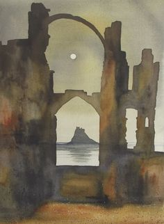"""Lindisfarne Castle from the Priory"" by Ian Scott Massie (watercolour)"