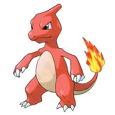 Charmeleon - 005 - It lashes about with its tail to knock down its foe.  It then tears up the fallen opponent with  sharp claws. When it swings its burning tail, it elevates the air temperature to unbearably high levels.  @PokeMasters.net