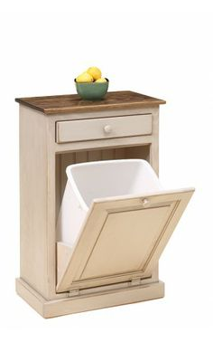 Trash bin cabinet w/drawer and w/ Amish Hand Painting