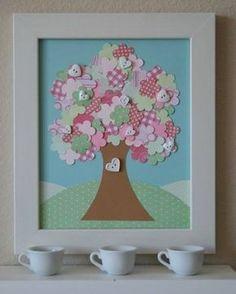 Árvores de corações e botões
