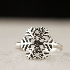 Snowflake Ring  Winter Jewelry Sterling Silver Ring by 36ten, $34.00