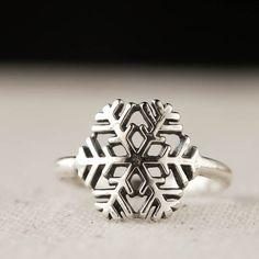 Anneau de flocon de neige, hiver bijoux, bague en argent Sterling, bijoux Casual