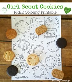 Girl Scout Cookies Doodle Coloring Printable
