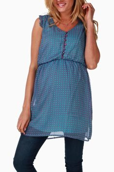 Purple Aqua Printed Maternity/Nursing Tunic #maternity #fashion