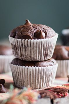 Double Chocolate VEGAN Muffins- this recipe is SO delicious and easy to bake.