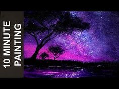 Painting an African Starry Night Sky with Acrylics in 10 Minutes Video by Stay Creative Painting Today we paint an African starry night sky in just about 10 minutes This is a real-time acrylic landscape painting tutorial for Galaxy Painting Acrylic, Acrylic Painting For Beginners, Acrylic Painting Lessons, Simple Acrylic Paintings, Painting Videos, Sponge Painting, Acrylic Landscape, Landscape Paintings, Starry Night Sky