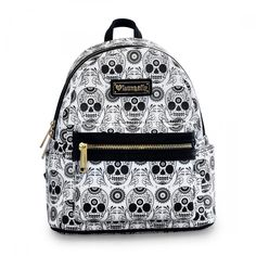 Loungefly Day Of The Dead Sugar Skull All Over Faux Leather White Mini Backpack