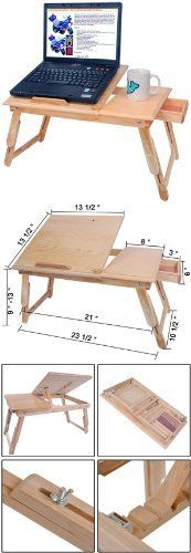 Adjustable Wood Mobile Laptop Desk with Drawer