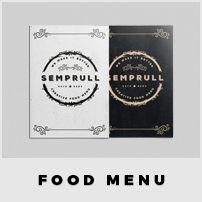 More Item   SEMPRULL FOOD MENU BLACKWHITE   CMYK Color Print-ready Adobe InDesign for CS4 or Later Paragraph and Text styles included Full Pack 3 Mm Bleed Customize any Colour with only 1 click Eas...