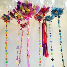 Some colourful bubbles on a grey day!  #balloons #confettiballoons #bubbles #colourful #birthday #gift #tassels #tails #confetti
