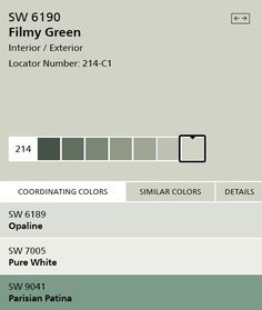 Sherwin Williams U0027Filmy Greenu0027 SW6190 Interior Paint Color, Silvery Green  #home