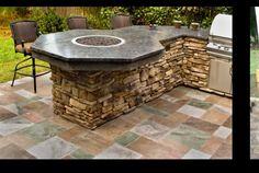 Fire pit. Outdoor kitchen idea