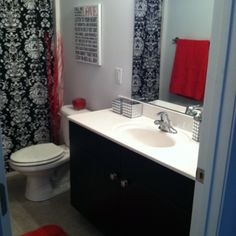 Red bathroom <3 kind of what my bathroom looks like