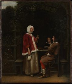 A Woman and Two Men in an Arbor  Pieter de Hooch  (Dutch, Rotterdam 1629–1684 Amsterdam)    Date:      ca. 1657–58  Medium:      Oil on wood  Dimensions:      Overall 17 3/8 x 14 3/4 in. (44.1 x 37.5 cm); painted surface 17 x 14 3/8 in. (43.2 x 36.5 cm)  Classification:      Paintings  Credit Line:      Bequest of Harry G. Sperling, 1971  Accession Number:      1976.100.25