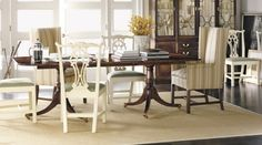 Hickory Chair dare I spray dining chairs and add upholstered ends to dining room