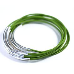 Leather Bangles Set Chartreuse, $25, now featured on Fab.