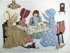 Looks like Caroline, Jewell, Miss Hattie, and Maren from the St. Charles Quilting Circle in Ripples Along the Shore. Hand Applique, Applique Patterns, Applique Quilts, Embroidery Applique, Quilt Patterns, Quilt Baby, Quilting Projects, Quilting Designs, Sue Sunbonnet