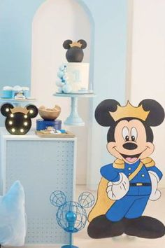 Check out this regal Mickey Mouse birthday party! The dessert table is amazing!! See more party ideas and share yours at CatchMyParty.com Mickey Mouse Birthday, Boy Birthday, Minnie Mouse, Birthday Cake, Mickey Mouse Party Decorations, Mickey Mouse Photos, Prince Party, Dessert Table, Party Ideas