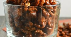 Toffee Walnuts are an easy to make recipe amazing plain, served with cheese, dessert, or as a topping for salad from Serena Bakes Simply From Scratch. Appetizer Recipes, Snack Recipes, Cooking Recipes, Snacks, Candy Recipes, Holiday Recipes, Christmas Sweets, Christmas Candy, Pumpkin Brownies