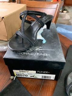 43720091c40 Donald J Pliner Vino Black Distrssed Metallic T-Strap Kitten Heel Sandal