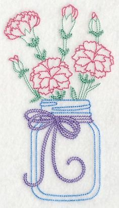 Blooming Carnations in Mason Jar (Vintage) design (L9381) from www.Emblibrary.com