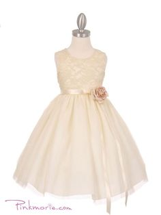 Ivory Elegant 3D Stretch Lace Tulle Flower Girl Dress