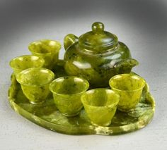 Chinese Miniature Jade Tea Set
