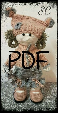 PDF in French, English and Dutch, boss, OLGA and her Cub to make crochet tutorial This Pin was discovered by Mag Crochet Dollies, Crochet Doll Pattern, Crochet Patterns Amigurumi, Amigurumi Doll, Crochet Toys, Crochet Baby, Knitted Dolls, Fabric Dolls, Beautiful Crochet