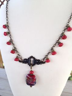 Trixy Necklace  Ruby jade keyhole handmade by SweetSageJewelry, $34.00
