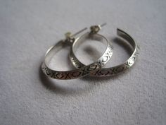 Vintage Sterling Silver Balinese Hoops With Hand by BALIARTWORKS