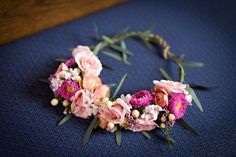 A pink flower crown full of mums and peonies for a boho chic bride. | KP Designs in New Jersey