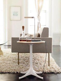 Sleek lines+furry rug