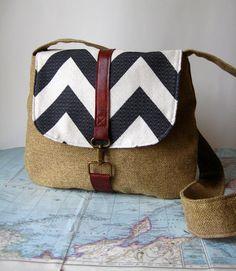 Bold chervron crossbody messenger bag by atlaspast on Etsy, $50.00