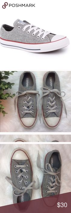 Women's Gray Converse ALL-STAR Sneakers Women's gray all-star Converse wool fabric feel. In very good condition. Looks great with jeans, shorts or a dress! Converse Shoes Sneakers