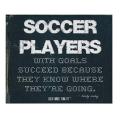 #Soccer Players with Goals Succeed in Denim > Poster with motivational #soccer #quote