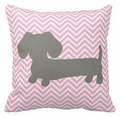 Pink & Gray Chevron Dachshund Pillow - The Smoothe Store - 1
