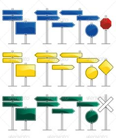 Road Signs  #GraphicRiver         vector set of road sign illustrations with blank frames     Created: 9October13 GraphicsFilesIncluded: PhotoshopPSD #JPGImage #VectorEPS #AIIllustrator Layered: Yes MinimumAdobeCSVersion: CS Tags: Roadsigns #arrow #board #caution #crossing #crossroad #decide #decisions #direction #frame #guide #highway #icon #isolated #pointer #railroad #road #select #sign #signboard #signpost #stop #street #symbol #traffic #transportation #turn #vector #warning #way