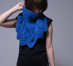 Hand knit capelet blue poncho weaving leaves pattern by MaxMelody