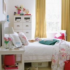 vintage style, student bedroom, floral, pink, blue, colour, interiors, tulips, storage