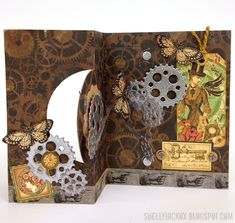 Shelly Hickox using the Pop it Ups Spiral Circle Pull Card and Clock & Gears dies (available mid-July 2014) by Karen Burniston for Elizabeth Craft Designs - Stamptramp: New Pop it Ups Release - Spiral Circle Pull Card