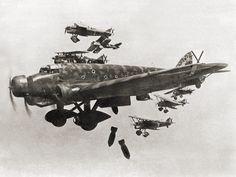 Italian Savoia-Marchetti SM.81 of the Aviación Nacional rebel Air Force bombing…