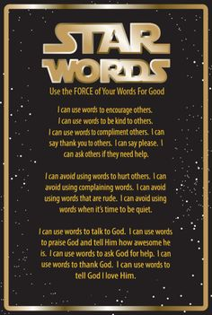 FREE Star Words Printable - Use this as a hand out or to decorate your Children's Ministry or classroom wall!