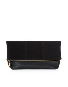 Slouchy Foldover Clutch Bag | Black | Accessorize