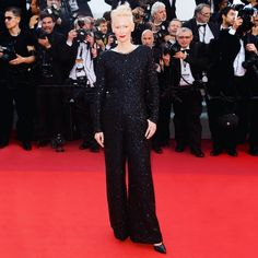 Tilda Swinton wearing #CHANELFallWinter 2017/18 Ready-to-Wear for the celebration of the 70th annual Cannes Film festival