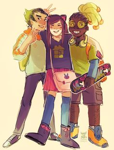 jununy: the anime & gaming crew from my overwatch highschool AU!! im rly fond of genji dva and lucio's friendship lmao