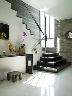 Sleek design contrasting concrete wall