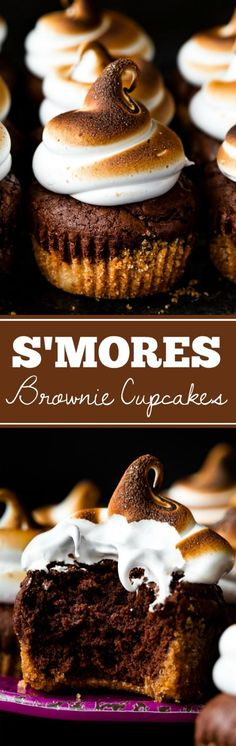 Smores brownie cupcakes with a graham cracker crust brownie cupcake and toasted marshmallow frosting on top Recipe on Weight Watcher Desserts, Köstliche Desserts, Delicious Desserts, Yummy Food, Cupcake Recipes, Baking Recipes, Dessert Recipes, Top Recipes, Brownie Cupcakes