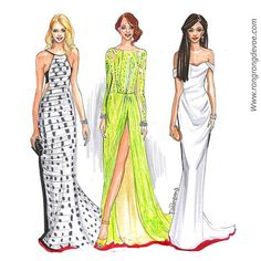 Fashion sketches of Oscar 2015 red carpet looks from Naomi, Emma and Zendaya by…