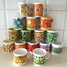 Vintage, retro floral patterned coffee cups.