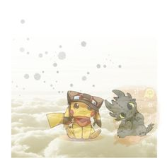 """""""Pikachu and Toothless-"""" by annah-berry ❤ liked on Polyvore featuring art"""